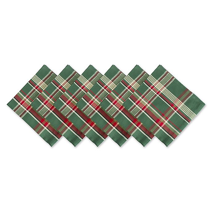 Alternate image 1 for Design Imports Plaid Napkins in Dark Green (Set of 6)