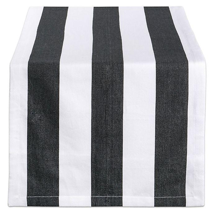 Alternate image 1 for Design Imports Dobby Stripe 108-Inch Table Runner in Black/White