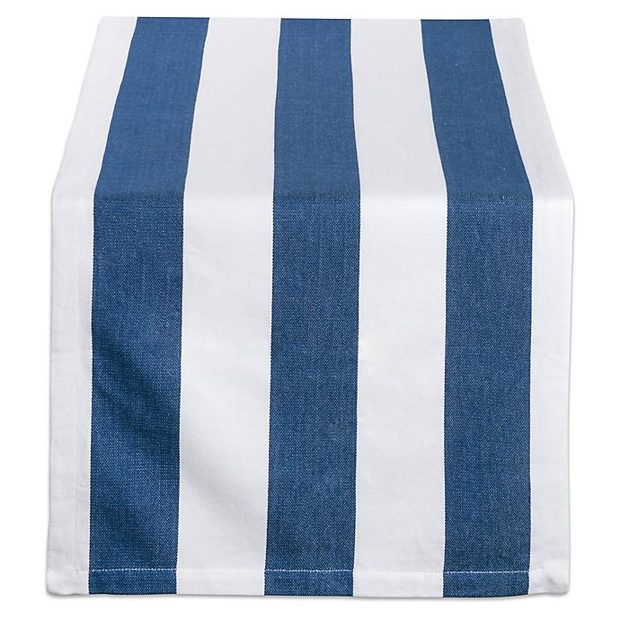 Alternate image 1 for Design Imports Dobby Stripe 108-Inch Table Runner in Navy/White