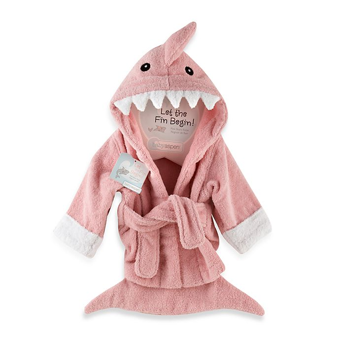 Alternate image 1 for Baby Apsen Let the Fin Begin Shark Bathrobe in Pink