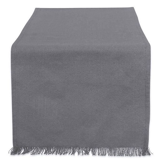 Alternate image 1 for Design Imports Heavyweight Fringed 108-Inch Table Runner in Grey