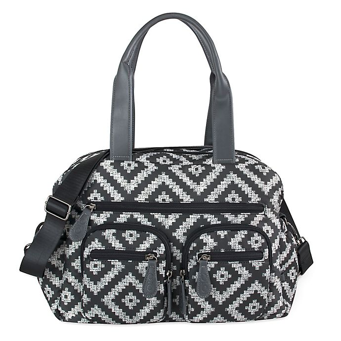 Alternate image 1 for OiOi Aztec Print Carryall Diaper Bag in Grey