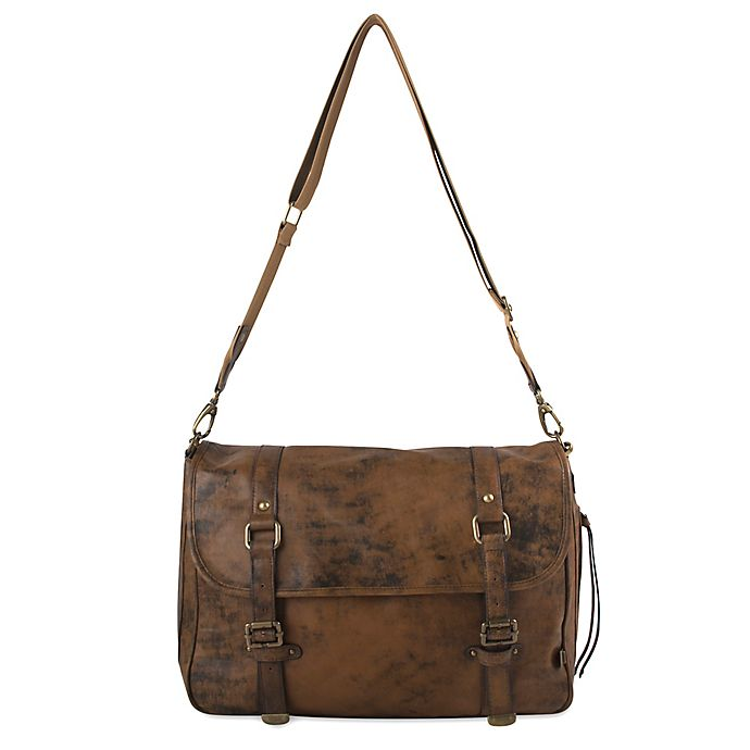 Alternate image 1 for OiOi Distressed Leather Messenger Diaper Bag in Brown