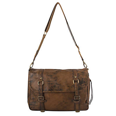OiOi Distressed Leather Messenger Diaper Bag in Brown