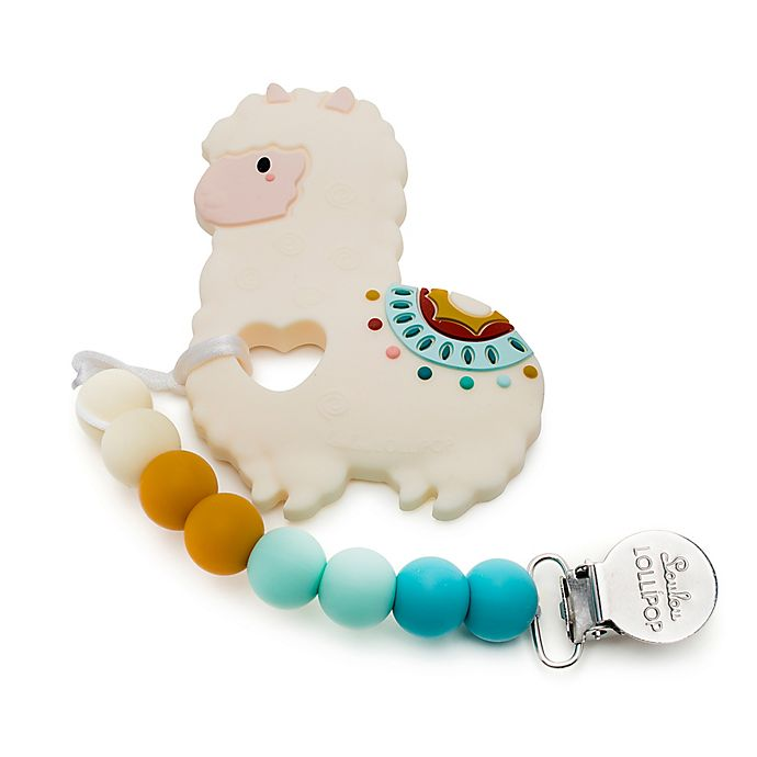 Alternate image 1 for Loulou Lollipop Llama Teether with Clip