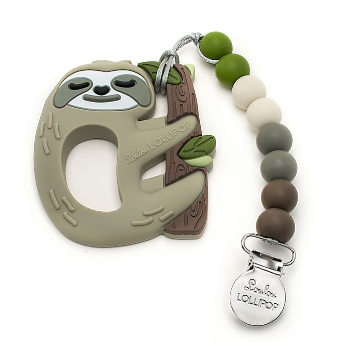 Alternate image 1 for Loulou Lollipop Sloth Teether with Clip
