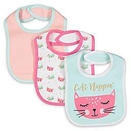 Baby Lounge 3-Piece Cat Nappin Bib Set in Blue