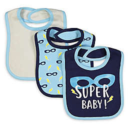 Baby Lounge 3-Piece Super Baby Bib Set in White