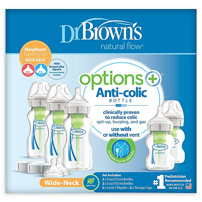 Alternate image 1 for Dr. Brown's® Options+™ Newborn Wide-Neck Baby Bottle Set in Clear