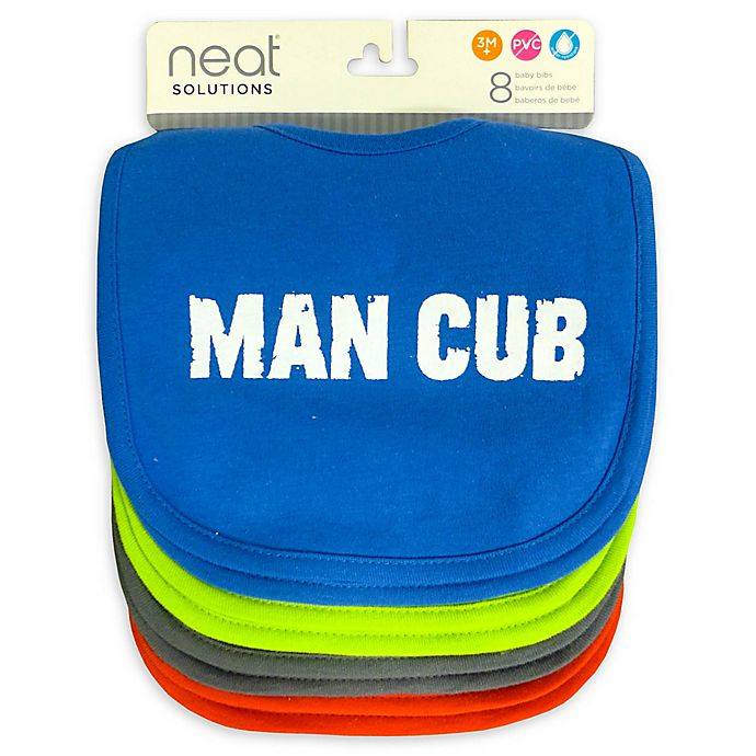 Alternate image 1 for Neat Solutions 8-Pack Man Cub Infant Bib Set with Water-Resistant Lining