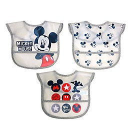 Disney 3-Pack Mickey Mouse Multi-Layer Translucent Toddler Bib Set