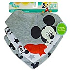 Disney 3-Pack Mickey Mouse Scarf Bibs with Teether in Heather Grey