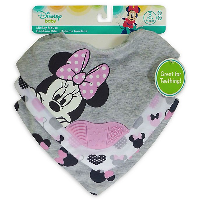 Alternate image 1 for Disney 3-Pack Minnie Mouse Scarf Bibs with Teether in Heather Grey