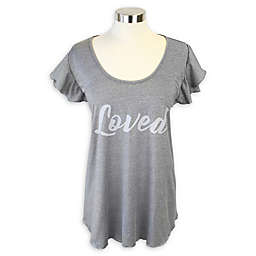 "Itzy Ritzy® ""Loved"" T-Shirt Nursing Cover in Grey"