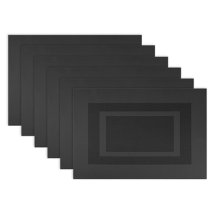 Alternate image 1 for Design Imports Double Bordered Square Placemats in Black (Set of 6)
