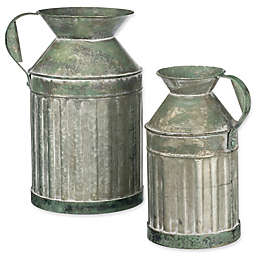 Galvanized Ribbed Metal Watering Can Planters (Set of 2)