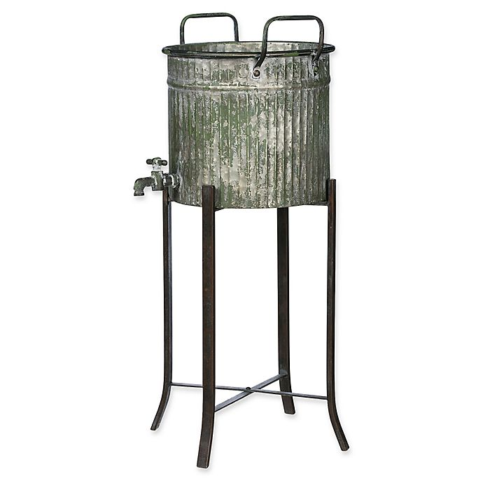 Galvanized Water Tower Planter On Stand Bed Bath Beyond