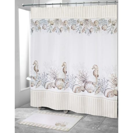 "Shower Curtain 72 By 72/"" Avanti Island View Soft Cotton Polyester Neutral Tones"