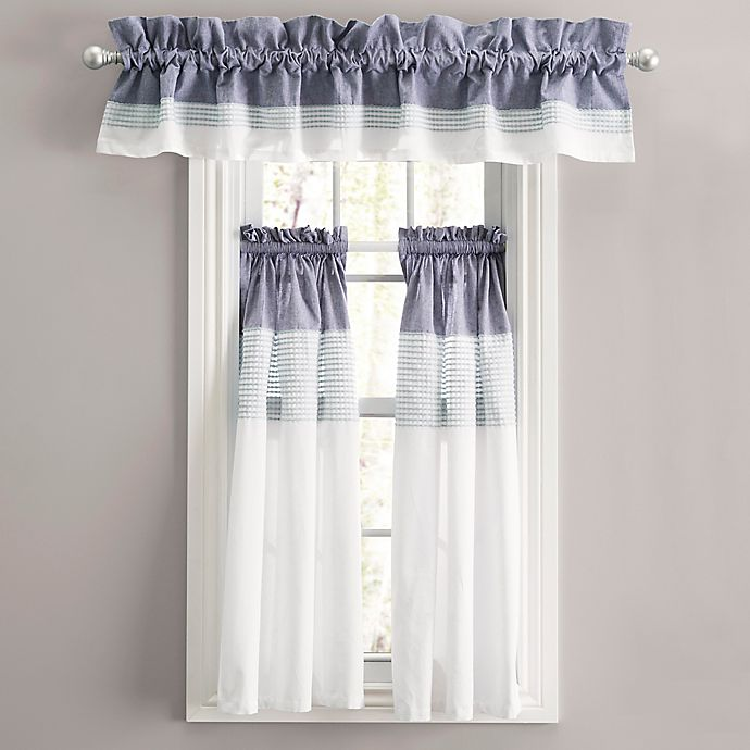 Alternate image 1 for Nora Rod Pocket Window Curtain Tier Pair in Navy