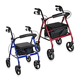 Drive Medical Four-Wheeled Rollator w/8-Inch Wheels