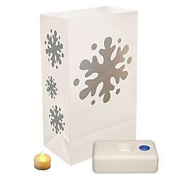 Battery Operated Snowflake LED Luminaria Kit - 12 Count
