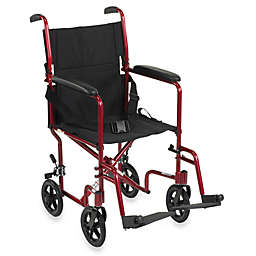 Drive Medical 19-Inch Red Aluminum Transport Wheelchair