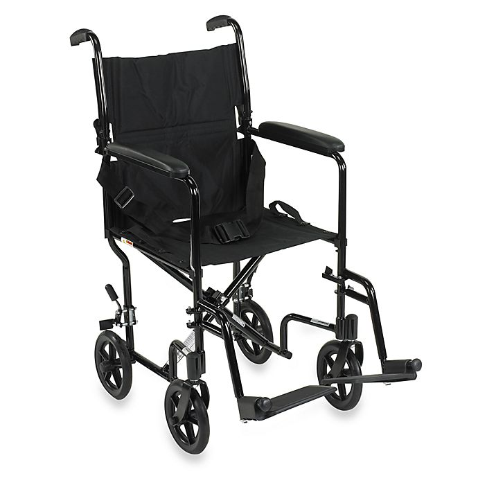Alternate image 1 for Drive Medical Aluminum Lightweight 17-Inch Transport Wheelchair in Black