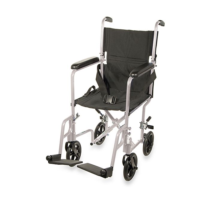 Alternate image 1 for Drive Medical Aluminum Lightweight 19-Inch Transport Wheelchair in Silver