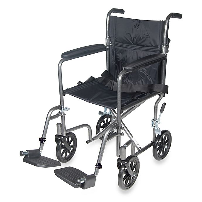 Alternate image 1 for Drive Medical Steel 19-Inch Transport Wheelchair  in Silver