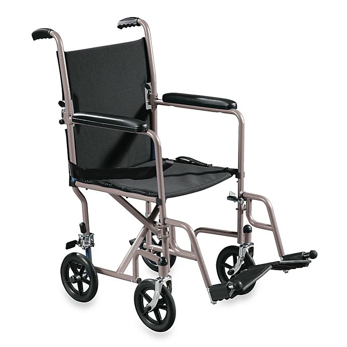 Alternate image 1 for Drive Medical Steel 17-Inch Transport Wheelchair in Silver