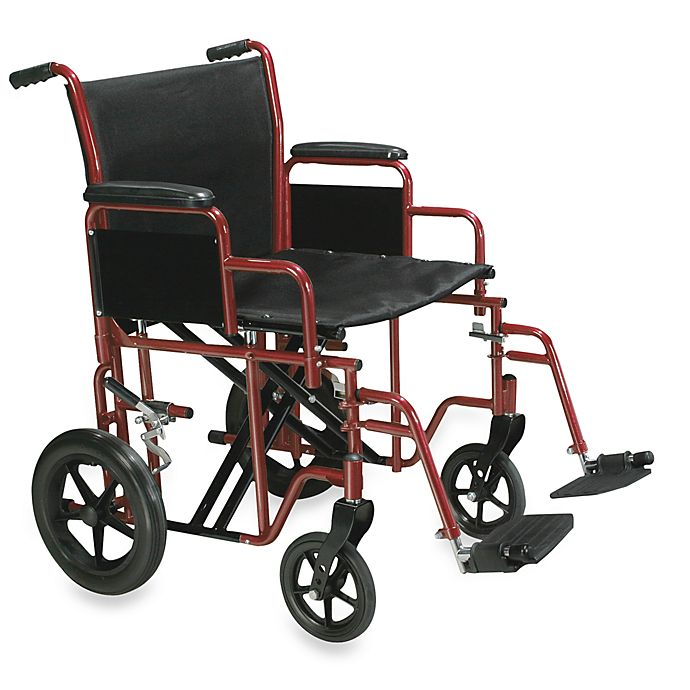 Alternate image 1 for Drive Medical 20-Inch Bariatric Heavy-Duty Transport Wheelchair with Swing Away Footrest in Red