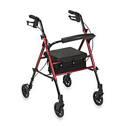 Drive Medical Universal Adjustable Height Rollator w/6-Inch Wheels in Red