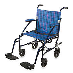 Drive Medical Fly-Lite Aluminum Transport Wheelchair in Blue