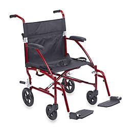 Drive Medical Fly-Lite Aluminum Transport Wheelchair in Red