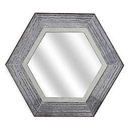 Masterpiece Art Gallery 27-Inch x 23-Inch Hexagon Metal Framed Wall Mirror in Whitewash Finish