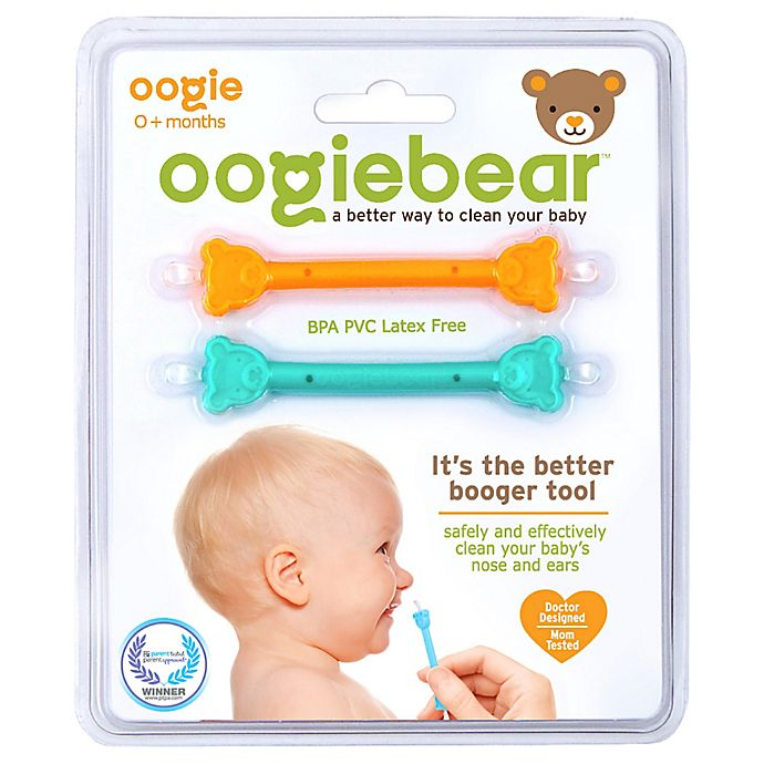 Alternate image 1 for oogiebear® 2-Pack Infant Nose and Ear Cleaner in Orange/Seafoam by oogie solutions