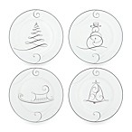 Noritake® Platinum Wave Snowman/Bell/Tree/Sleigh Holiday Appetizer Plates (Set of 4)