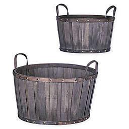 Wood Chip Storage Baskets in Brown (Set of 2)