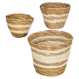 Striped Woven Straw Grass Baskets (Set of 3)