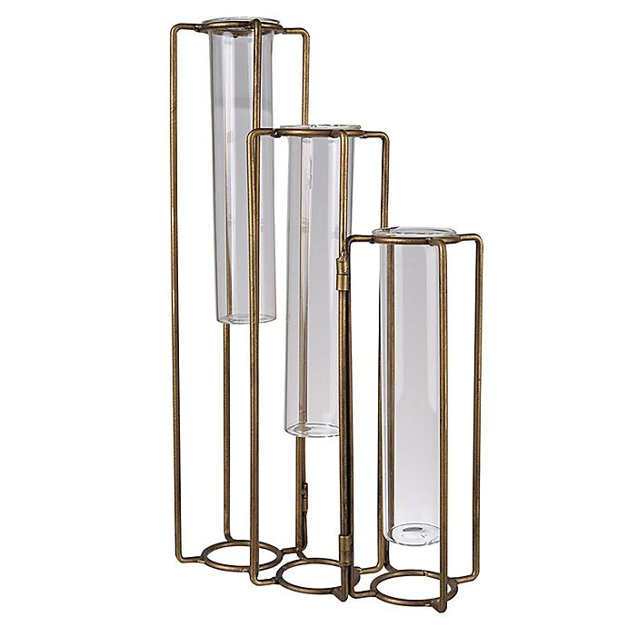 Alternate image 1 for A&B Home 3-Beaker Hinged Pedestal Flower Vases in Brass