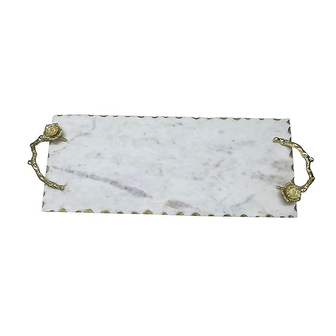 Alternate image 1 for A&B Home Event Modern Marble Tray in White/Gold