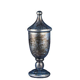 A&B Home Dixie Lidded Trophy with Shiny Metallic Cloud in White