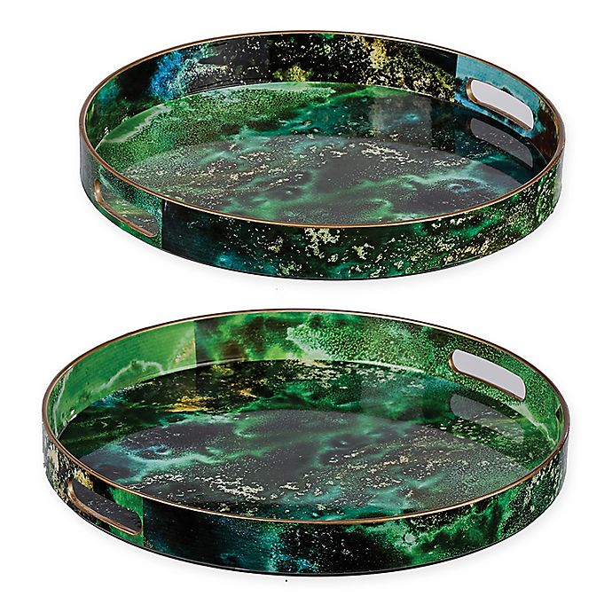 Alternate image 1 for A&B Home 2-Piece Marbleized Decorative Tray Set