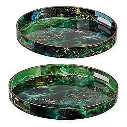 A&B Home 2-Piece Marbleized Decorative Tray Set