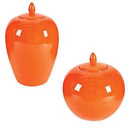 A&B Home Ceramic Lidded Jar in Orange