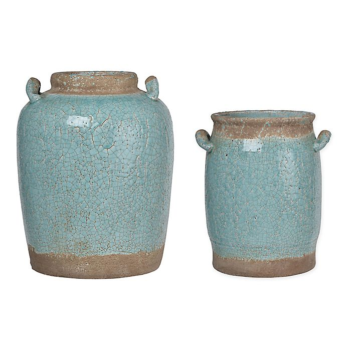 Alternate image 1 for A&B Home Candia Crackled Ceramic Vase in Pale Turquoise