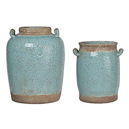 A&B Home Candia Crackled Ceramic Vase in Pale Turquoise