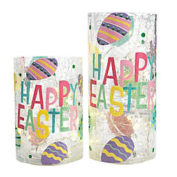 Home Essentials & Beyond Happy Easter 2-Piece LED Lighted Glass Hurricane Set