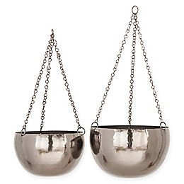 2-Piece Round Iron Hanging Planter Set