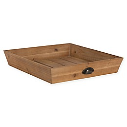 Kate and Laurel Woodmont Square Wooden Tray in Natural